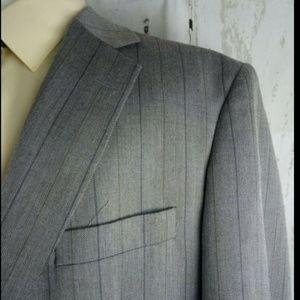 Haggar 48L Suit Blazer Sports Coat Gray Striped